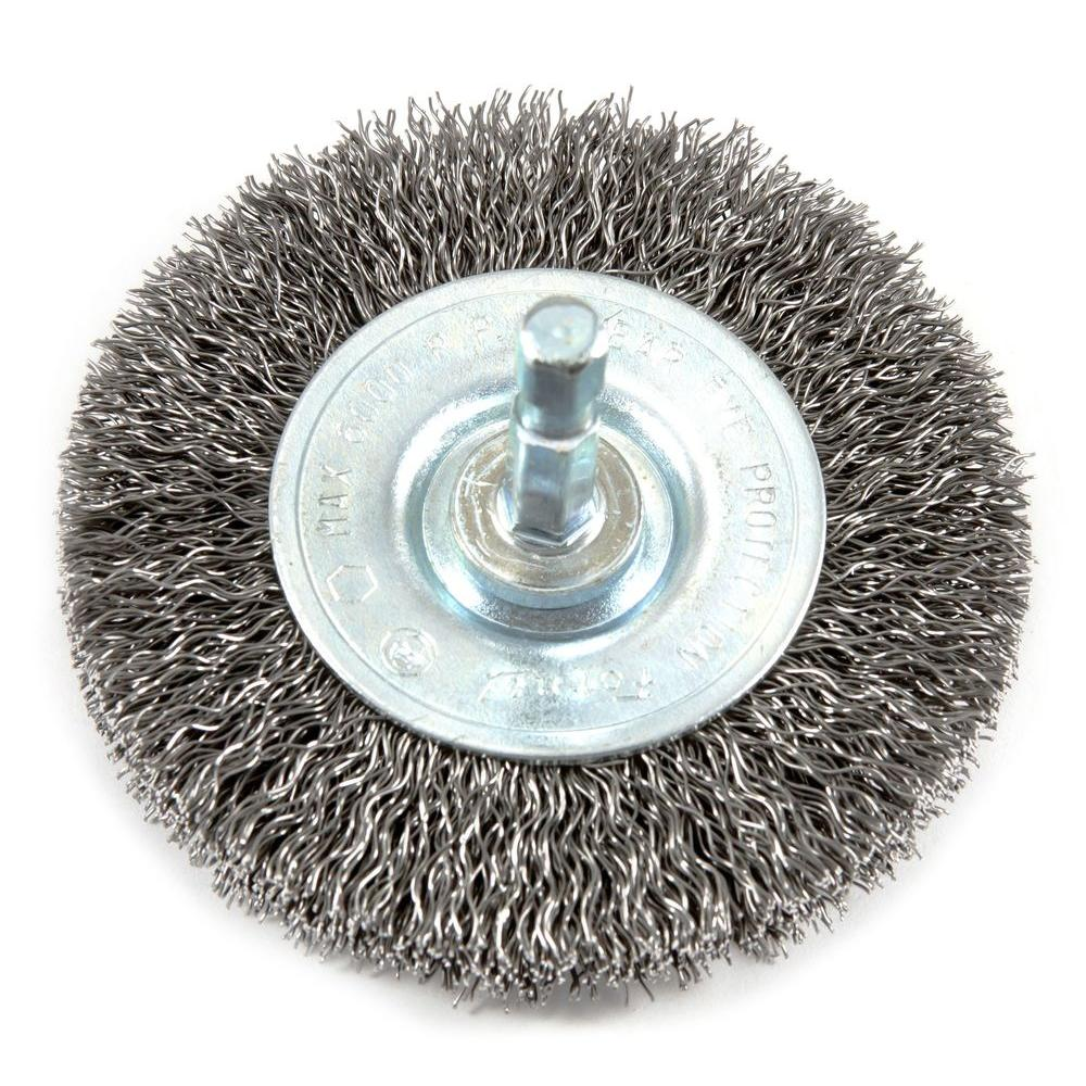 Forney 3 in. x 1/4 in. Hex Shank Coarse Crimped Wire Wheel Brush