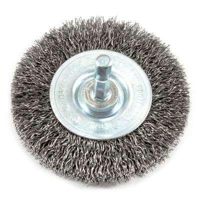 3 in. x 1/4 in. Hex Shank Coarse Crimped Wire Wheel Brush