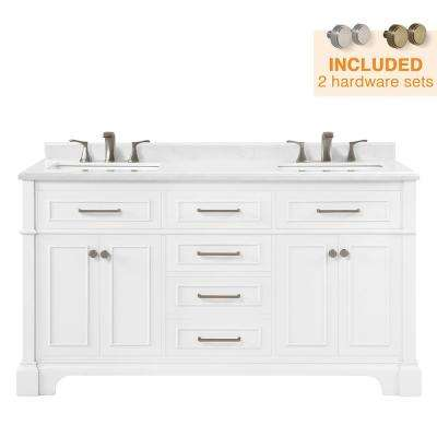 Melpark 60 in. W x 22 in. D Bath Vanity in White with Cultured Marble Vanity Top in White with White Sink