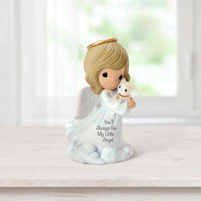 Tabletop Angel Resin You'll Always Be My Little Angel Girl And Cat Figurine