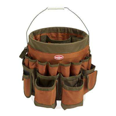 10 in. Tool Bucket with 56-Pockets in Brown