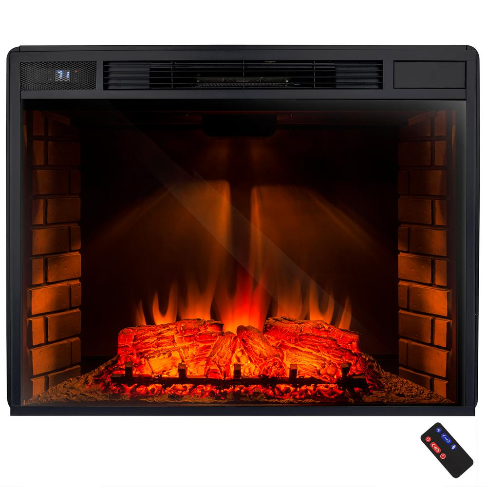 Create the perfect amount of supplemental heat using AKDY Freestanding Electric Fireplace Insert Heater in Black with Tempered Glass and Remote Control.