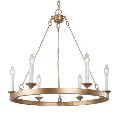 New World Decor Ricky 26 1 2 In 6 Light Modern Gold Iron Wagon Wheel Farmhouse Chandelier With Candle Style 3ye32ehd13766b7 The Home Depot