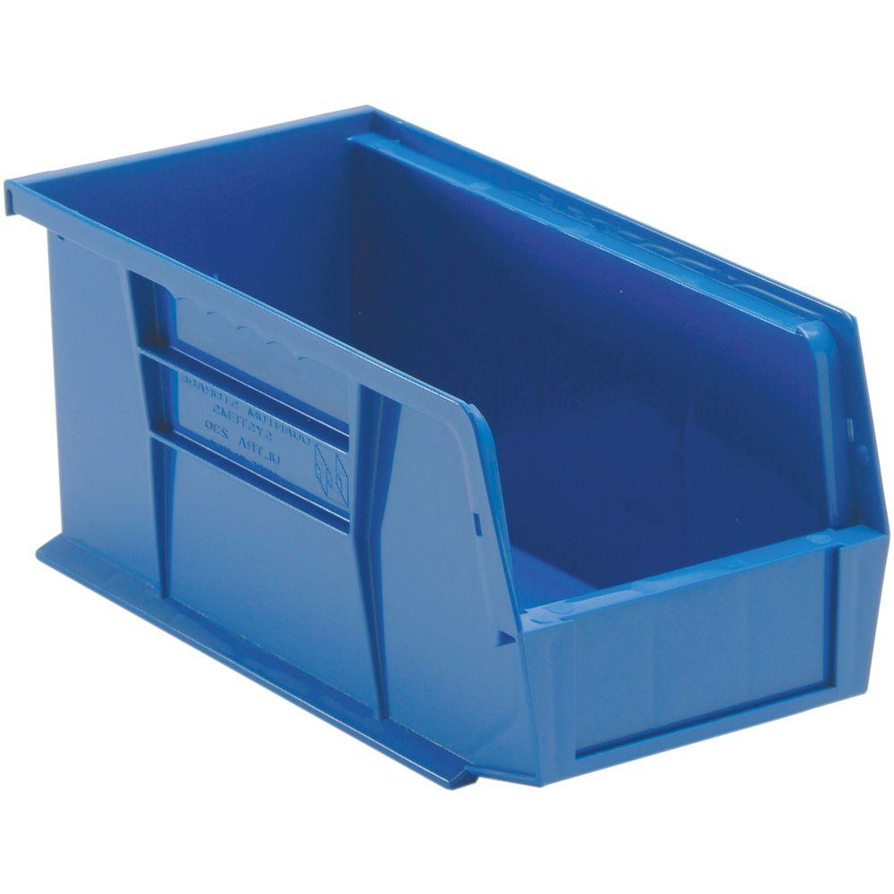 plastic storage containers edsal 1 3 gal stackable plastic storage bin in blue 12 29778