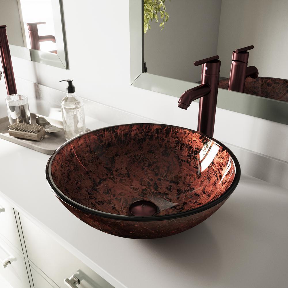 Vigo Mahogany Moon Vessel Sink In Copper With Faucet Oil Rubbed Bronze