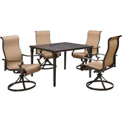 Brigantine 5-Piece Aluminum Outdoor Dining Set with 4 Sling Swivel Rockers and a 42 in. Square Cast-Top Table