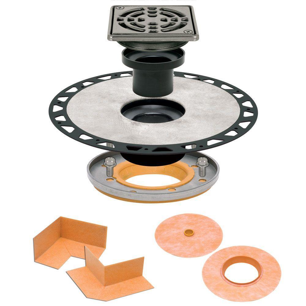 Kerdi-Drain 4 in. Stainless Steel Grate ABS Adaptor Drain Kit