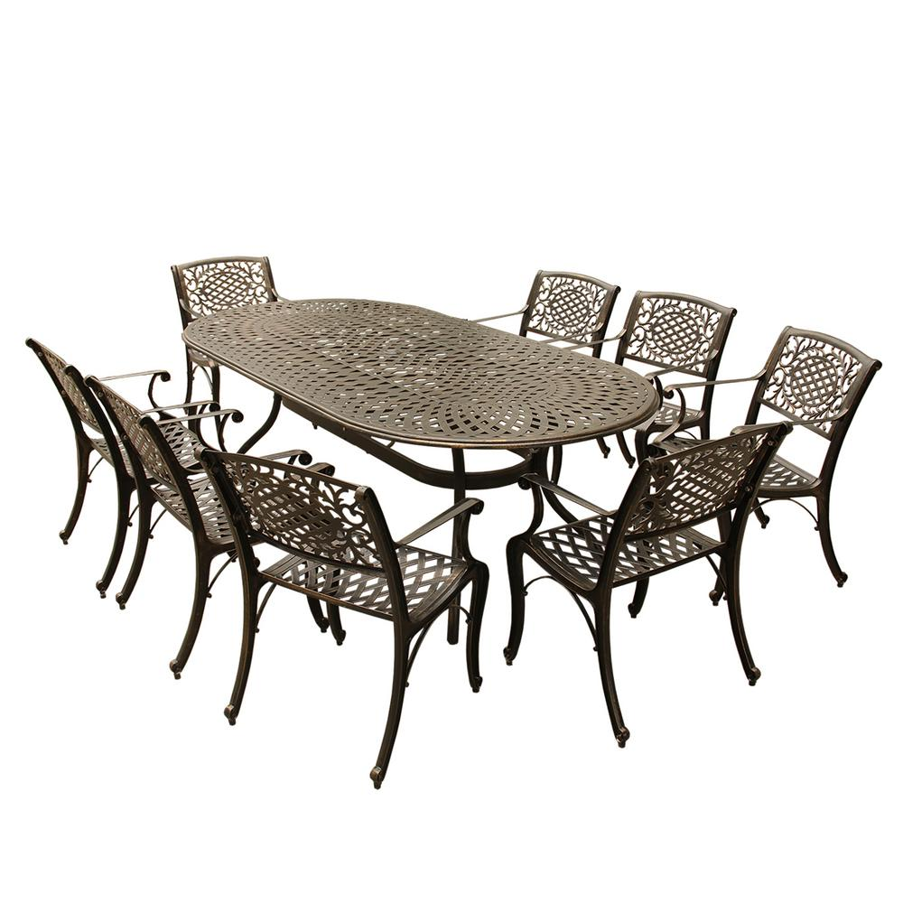 Contemporary Modern 9 Piece Bronze Aluminum Oval Outdoor Dining Set With  8 Arm Chairs