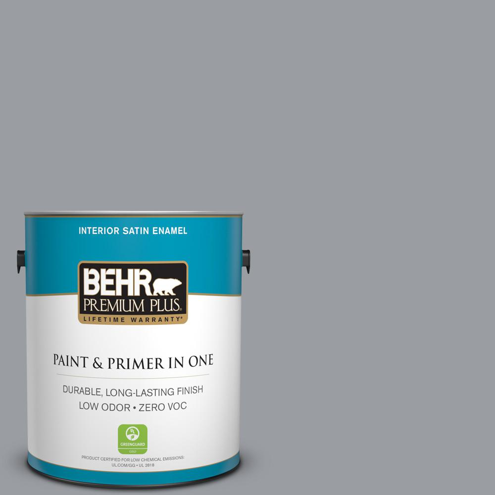 BEHR Premium Plus 1-gal. #760F-4 Down Pour Zero VOC Satin Enamel Interior Paint