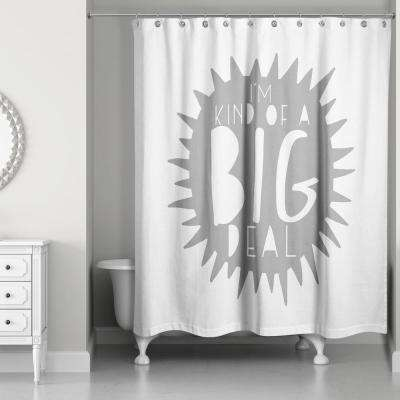 Cool Kid 71 in. I'm Kind of a Big Deal Gray Shower Curtain
