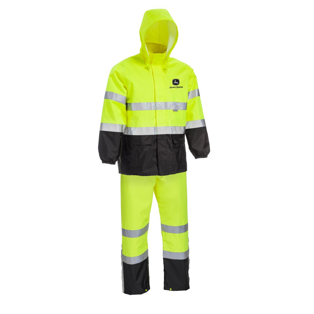 John Deere Size X-Large High Visibility ANSI Class III Rain Suit Jacket