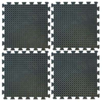 19.7 in. Square Anti-Fatigue Interlocking Rubber Mat Set (4-Piece)