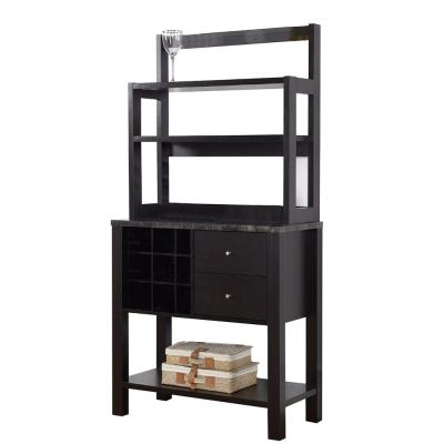 Well Designed Dark Brown Wine Rack with 2-Drawers
