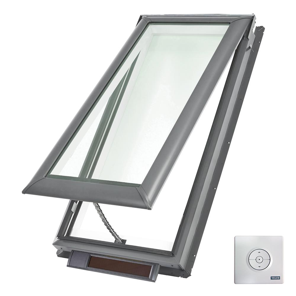 21 x 54-7/16 in. Solar Powered Fresh Air Venting Deck-Mount Skylight