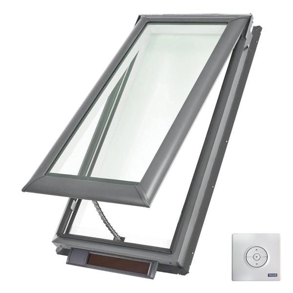21 in. x 45-3/4 in. Solar Powered Fresh Air Venting Deck-Mount Skylight with Laminated Low-E3 Glass