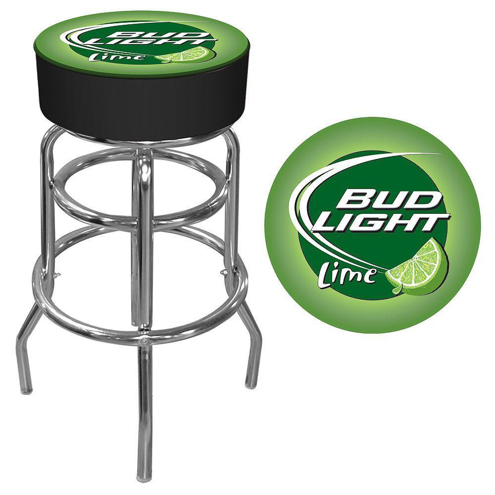 Bud Light Lime 31 in. Chrome Swivel Cushioned Bar Stool