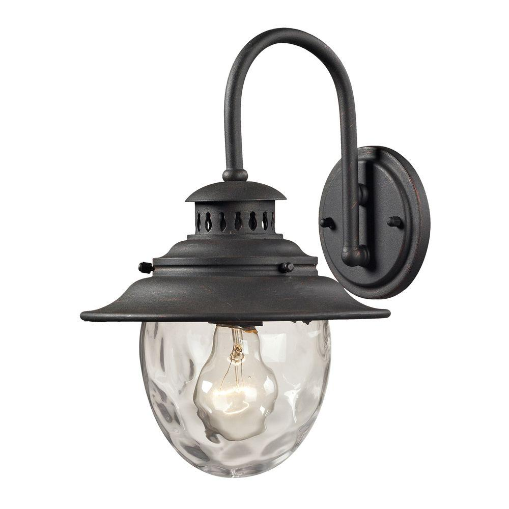 Titan Lighting Searsport 1-Light Weathered Charcoal Outdoor Sconce ...