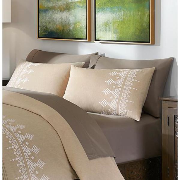Roanne 3-Piece Khaki Embroidered Duvet Cover Set