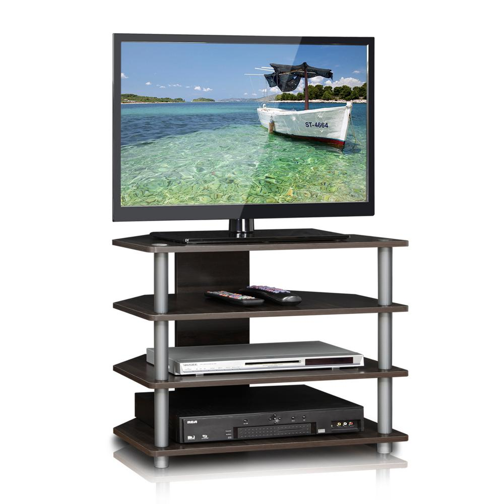 llytech inc turn n tube espresso 4 tier petite tv stand 15093cc gy the home depot. Black Bedroom Furniture Sets. Home Design Ideas