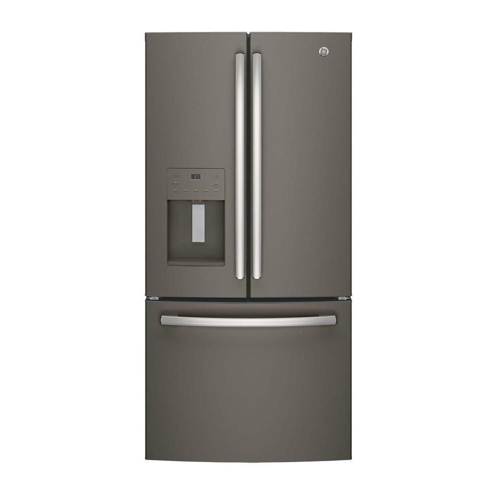 Ge 33 In W 23 8 Cu Ft French Door Refrigerator In Slate