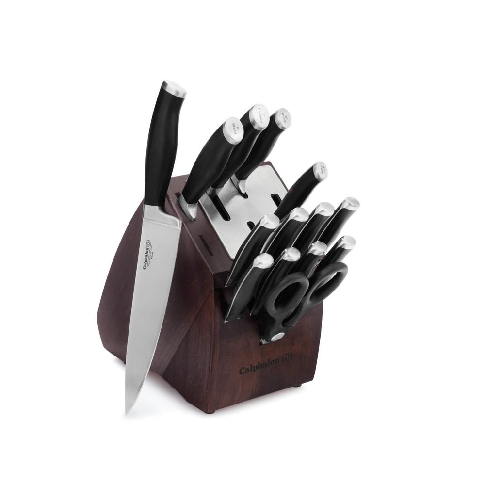 Contemporary 15-Piece Self-Sharpening Knife Set with Storage Block