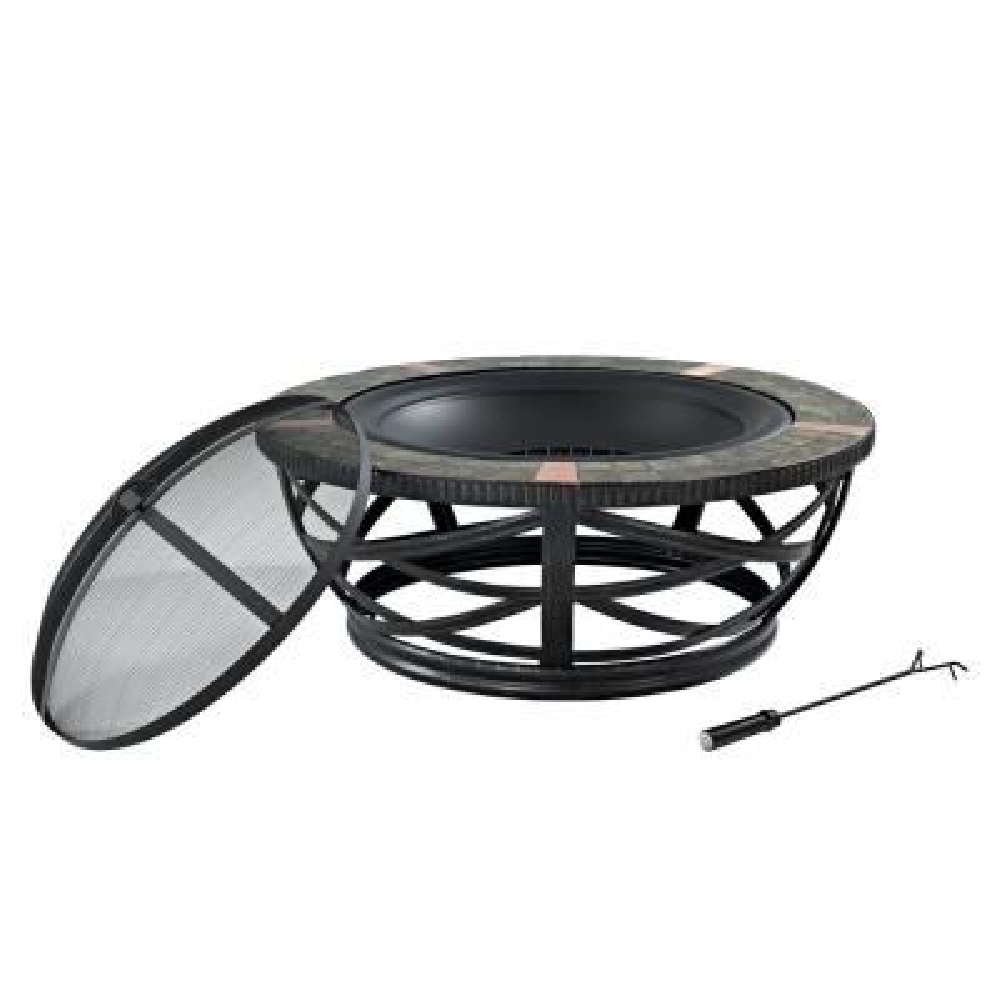 Glendale Black Round Metal Outdoor Firepit