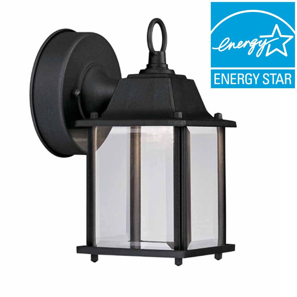 Hampton bay black outdoor led wall lantern hb7002 05 the home depot hampton bay black outdoor led wall lantern mozeypictures Images