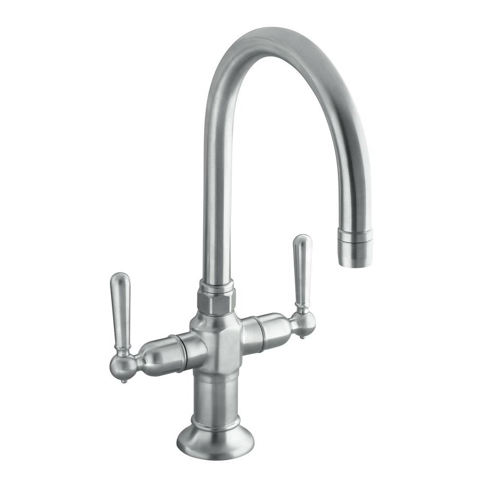 KOHLER HiRise 2-Handle Bar Faucet in Brushed Stainless Steel-K-7342 ...