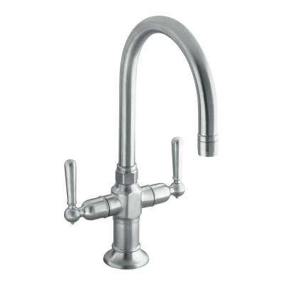 HiRise 2-Handle Bar Faucet in Brushed Stainless Steel