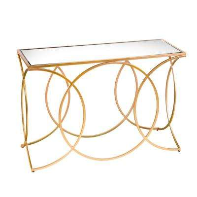 Rachel Gold Geometric Console Table with Mirrored Top
