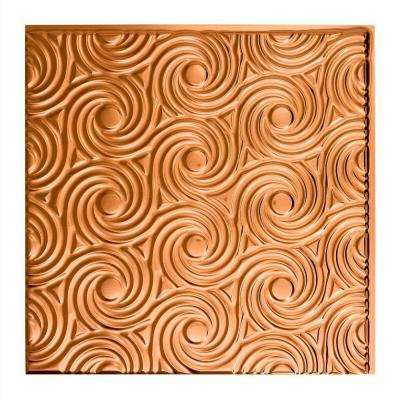 Cyclone - 2 ft. x 2 ft. Glue-up Ceiling Tile in Polished Copper