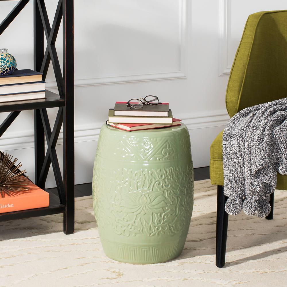 Lotus Lime Green Ceramic Patio Stool
