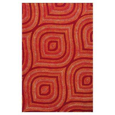 Red Raindrops 5 ft. x 7 ft. All-Weather Area Rug