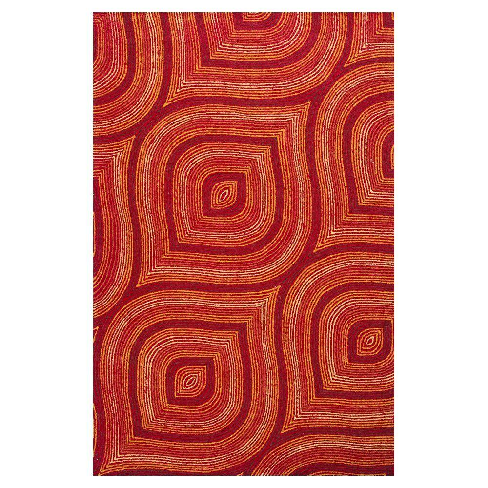Donny Osmond Home Red Raindrops 8 ft. x 10 ft. All-Weather Area Rug