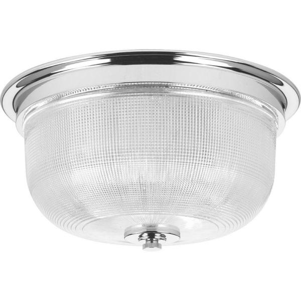 Archie Collection 2-Light Chrome Flushmount with Clear Prismatic Glass
