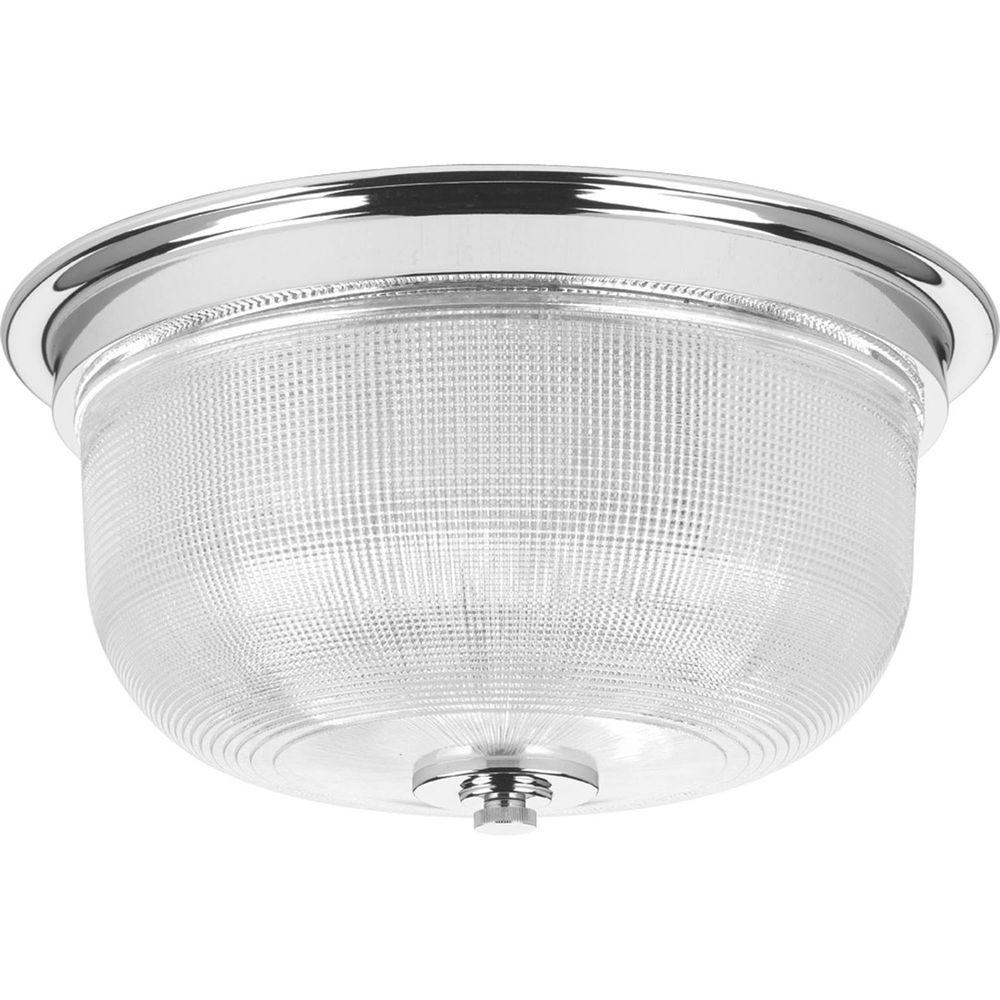 Progress Lighting Archie Collection 2-Light Chrome Flushmount with Clear Prismatic Glass