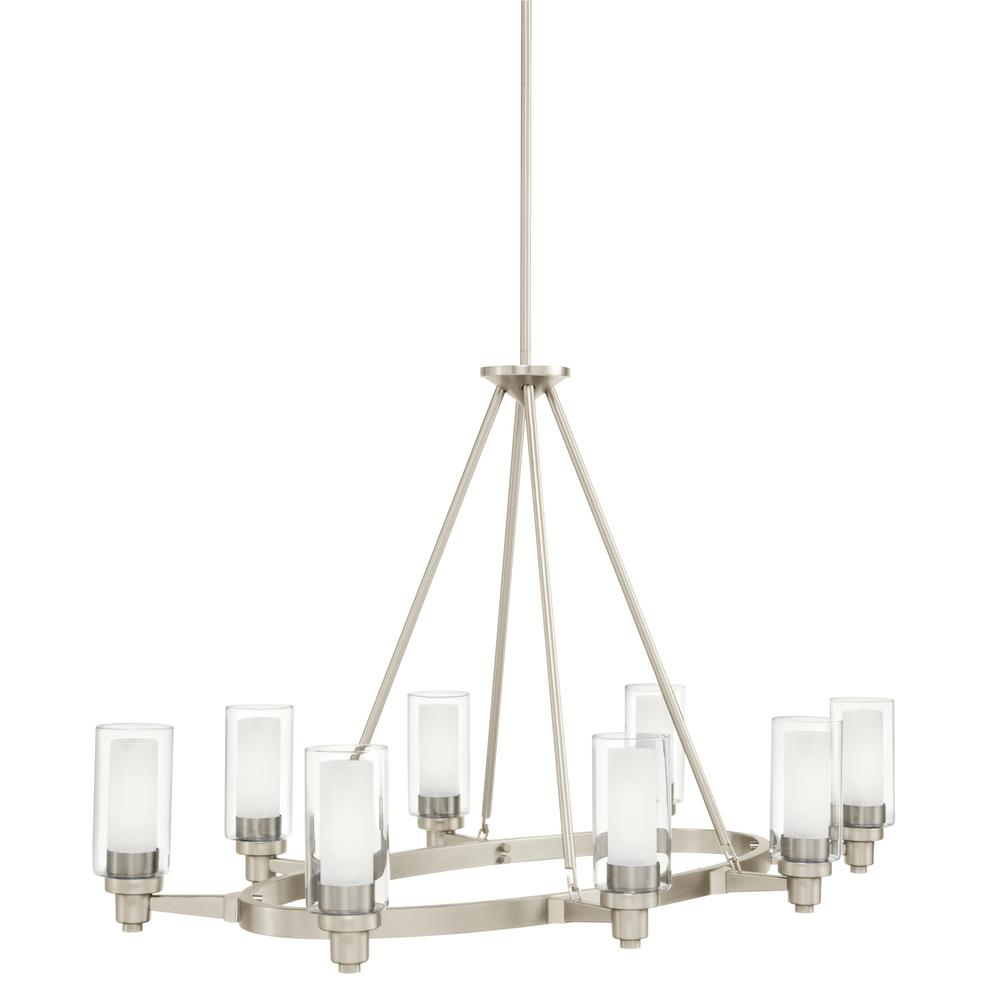 Circolo 8-Light Brushed Nickel Oval Chandelier with Clear Outer and Satin Etched Inner Glass Shade