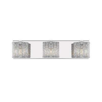 Highland III 20 1/2 in. 3-Light Stainless Steel Mirror Vanity Light with Aluminum Shade