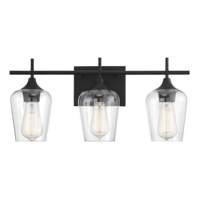 20.75 in. 3-Light Black Vanity-Light with Clear Glass