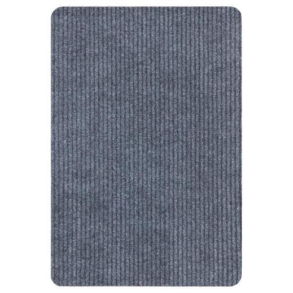 Lifesaver Collection Light Gray 2 ft. x 3 ft. Utility Ribbed Indoor/Outdoor Runner Rug