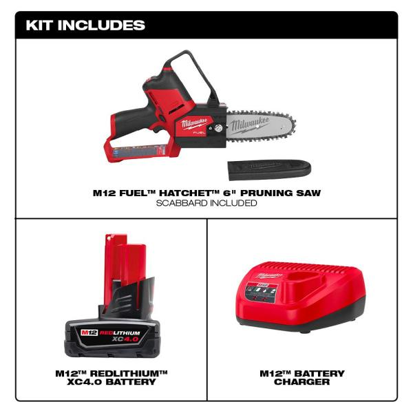 Milwaukee M12 Fuel 12 Volt Lithium Ion Brushless Cordless 6 In Hatchet Pruning Saw Kit With 4 0 Ah Battery And Charger 2527 21 The Home Depot