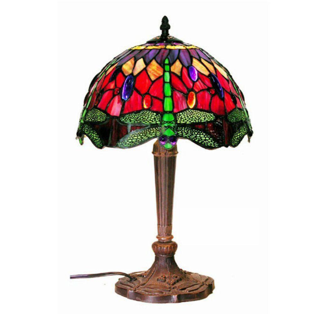 fc5530c93bcc Warehouse of Tiffany Dragonfly 18 in. Bronze Multicolored Table Lamp ...