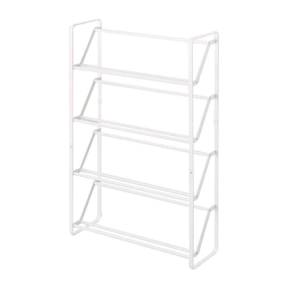 Frame 12-Pair Slim Steel Shoe Rack in White