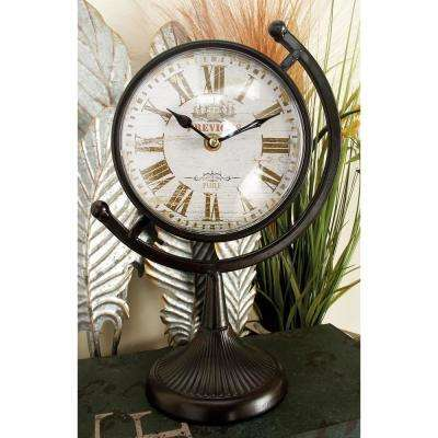12 in. x 8 in. Vintage-Style Black Round Table Clocks on Semi-Circular Post (Set of 4)