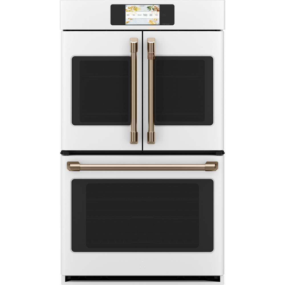Cafe 30 in. Smart Double Electric French-Door Wall Oven with Convection Self Cleaning in Matte White, Fingerprint Resistant