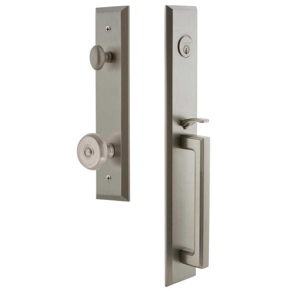 Fifth Avenue Satin Nickel 1-Piece Dummy Door Handleset with D-Grip and Bouton Knob