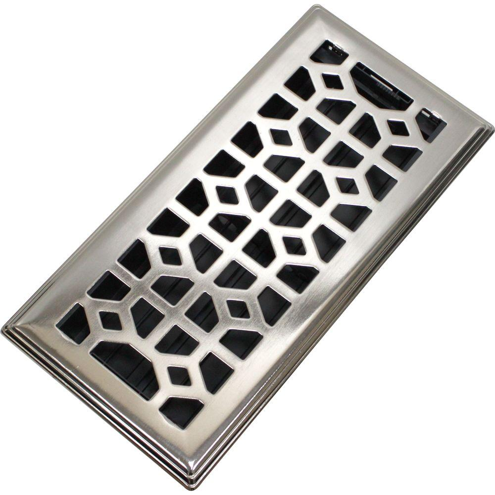 Abstract Steel Floor Register In Brushed Nickel