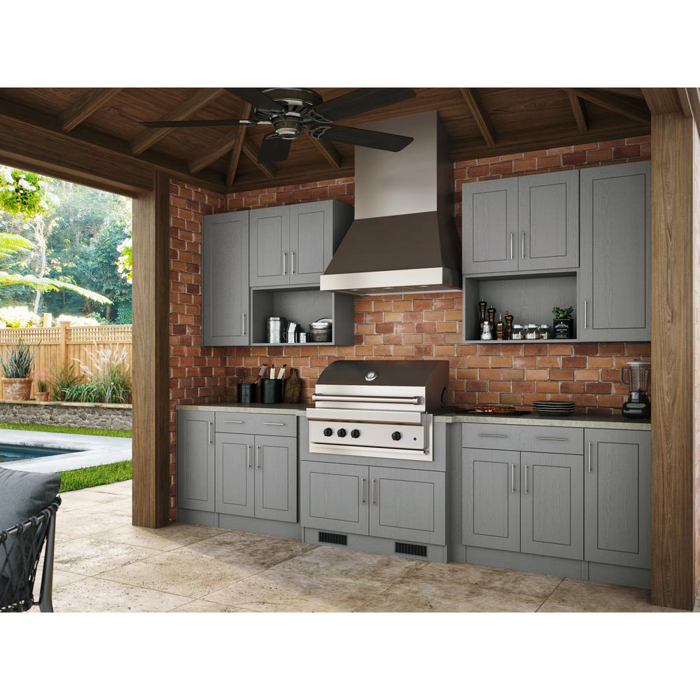 WeatherStrong Assembled 36x30x12 in. Palm Beach Open Back Outdoor Kitchen  Wall Cabinet with 2 Doors in Rustic Gray