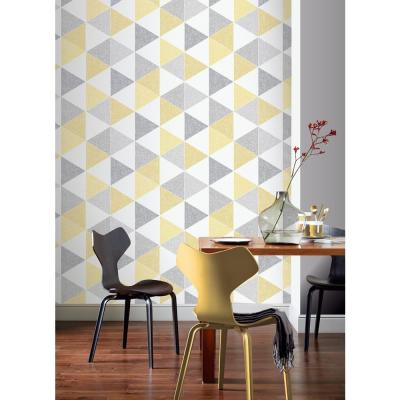 Scandi Triangle Yellow Paper Strippable Roll (Covers 57 sq. ft.)