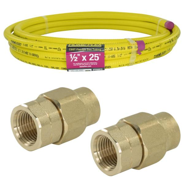 1/2 in. x 25 ft. CSST FPT Connection Kit (2) 1/2 in. FPT Female Adapter (1) CSST x CSST Pipe